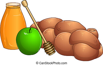 Honey Jar Apple And Chala For Rosh Hashanah - Vector...
