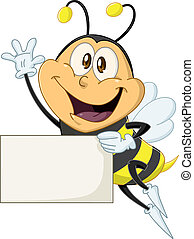 Bee Holds Sign And Waves Hello - Vector illustration of a...
