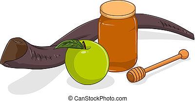 Honey Jar Apple And Shofar For Yom Kippur - Vector...