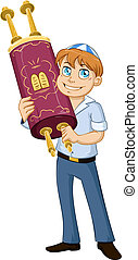 Jewish Boy Hold Torah For Bar Mitzvah - Vector illustration...