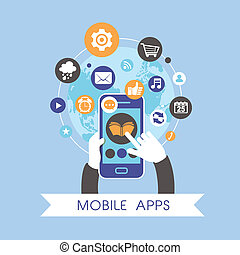flat design for mobile apps concept set over blue