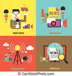 flat design for the news industry concepts graphic