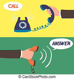 flat design for hand holding telephone concept graphic