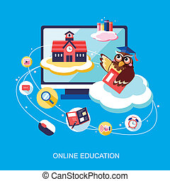 flat design for online education concept with an owl