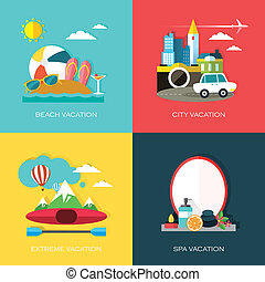 flat design for different kinds of vacation