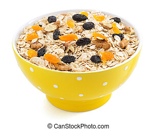 bowl of cereals muesli on white - bowl of cereals muesli...