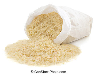 rice in paper bag isolated on white background