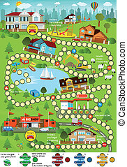 Board game (Cartoon city) - Vector illustration of board...