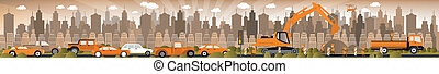 Work on roads Traffic jam - Vector illustration of work on...