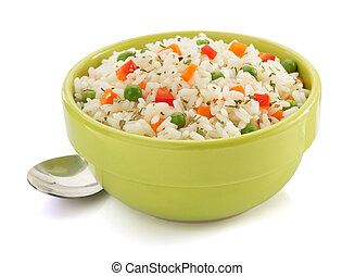 bowl full of rice on white - bowl full of rice isolated on...