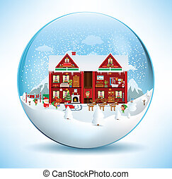 Inside the Santa House (In the glas - Vector illustration of...