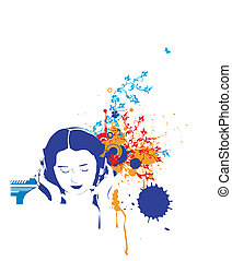 Girl listening music - A stylized illustration of a Girl...