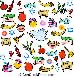 Rosh Hashanah Holidays Symbols Pack - Vector illustration...
