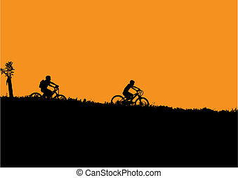 bicycle kids - Vector illustration of bicycle kids
