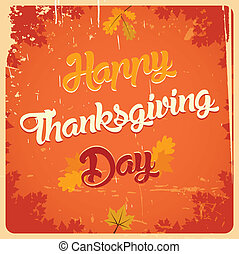 Happy Thanksgiving day vintage poster with calligraphy title