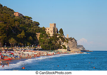 Finale ligure - Beach and sea of Finale Ligure, Italy, with...