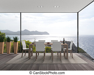 Modern interior with a viwe to the sea - FICTITIOUS interior...