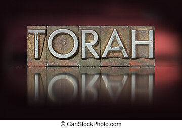 Torah Letterpress - The word Torah written in vintage...