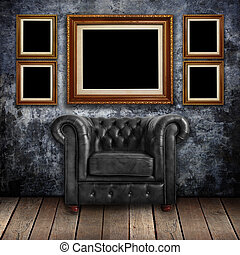 Grungy wall with leather armchair