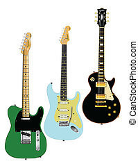 Guitar Collection - A collection of classic guitars on a...