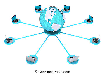 Concept for computer connection around world. - 3D render of...