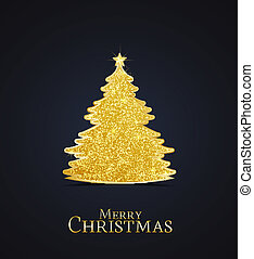 Christmas tree - Golden Christmas tree on a dark background