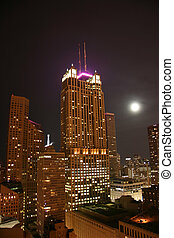 Chicago skyscrapers aerial night view