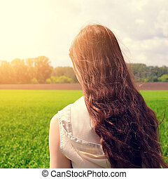 Teenage Girl at the Field - Toned photo of Teenage Girl at...