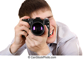 Teenager with Photo Camera - Excited Teenager Take a Picture...