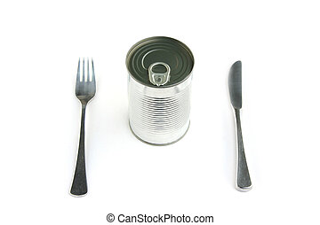 Can and place set - Blank tin can and place set with...
