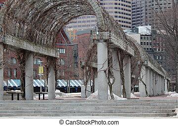 arbor - vine covered concrete arbor in the city