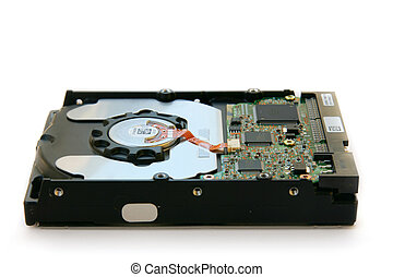 Hard disk below full - Hard disk full side view, focus on...