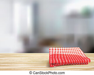 closeup of wooden desk and tablecloth in room - closeup look...