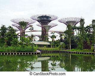 Singapore Garden on twilight sky - Singapore Garden by the...