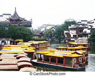 Shanghai town with boat