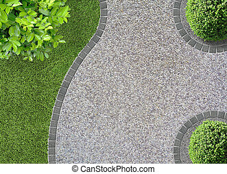 Garden design - garden design detail with curves seen from...