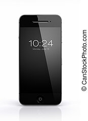 Smart phone on white with black screen