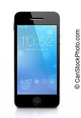 costumbre, elegante, teléfono, azul, pantalla
