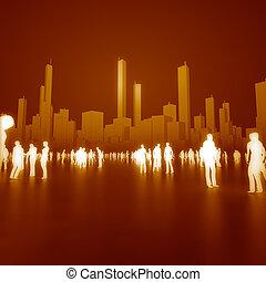 comunicar, pessoas, cidade, inflamável, cores