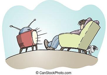 preguiçoso, sujeito, observar, tv