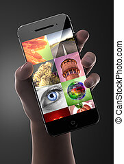 MAn holding smart phone with image gallery