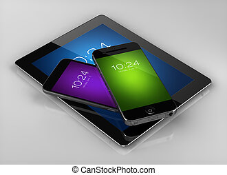 Smart phone with tablet with colorful screens