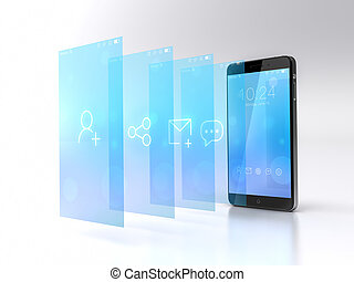 Custom smart phone with flying screens