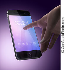 Woman hand touching smart phone display