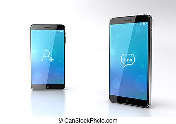 Custom smart phone with social network icon