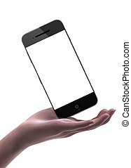 Woman hand holding smart phone with blank display