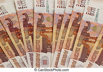 Close-up of russian banknotes - Russian denominations of...
