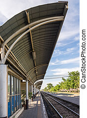 Modern roof of the train station in Thailand.