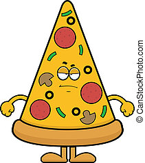 Cartoon Pizza Slice Grumpy - Cartoon illustration of a pizza...