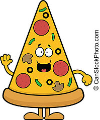 Cartoon Pizza Slice Happy - Cartoon illustration of a pizza...